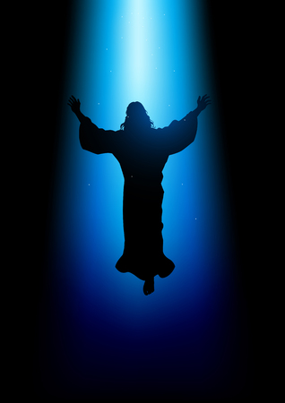 Silhouette illustration of Jesus Christ raising His hands, for the ascension day of Jesus Christ theme 向量圖像