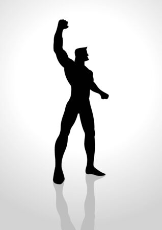 rising an arm: Silhouette illustration of a winner rising his right arm Illustration