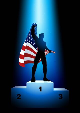 rank: Silhouette illustration of a winner on rank podium holding the flag of USA