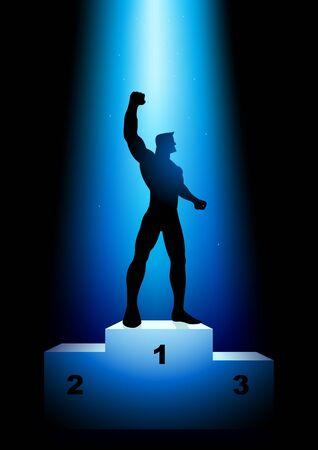 Silhouette illustration of a winner on rank podium
