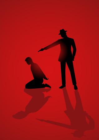 Ilustración de la silueta de un hombre que apunta un arma a la cabeza del hombre arrodillado