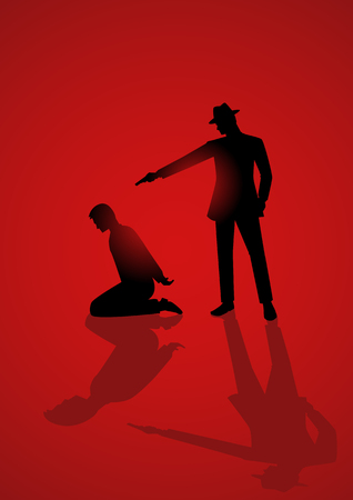 execute: Silhouette illustration of a man aiming a gun to the kneeling mans head