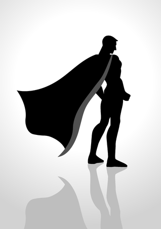 aspirational: Silhouette illustration of a superhero from back view Illustration