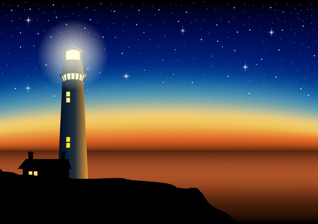 Illustration of a lighthouse during sunset. Mesh gradient in eps10 format.