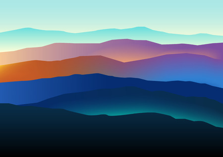 dramatic: Graphic illustration of mountains landscape in beautiful colors, dramatic scene.