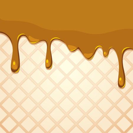 Melting caramel on wafer texture