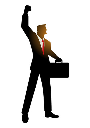 positive energy: Cartoon silhouette of a businessman with suitcase raising his right arm, energetic, success, dynamic, winner in business concept
