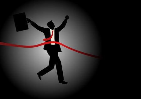 Illustration of running businessman at finish line, concept for success, competition in business Illustration