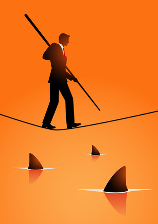 conquering adversity: Silhouette illustration of a businessman walking while holding a pole on rope with sharks underneath. Concept for take risk, courage, opportunity in business Illustration
