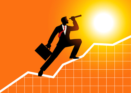Silhouette d'un homme d'affaires utilisant le télescope sur la charte graphique. Concept pour la prévision, la prévision, le succès, la planification des affaires