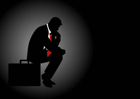 gloom: Silhouette illustration of pensive businessman sitting on his briefcase