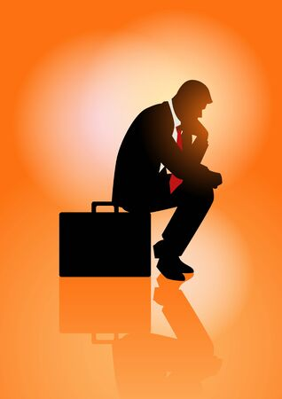 regretful: Silhouette illustration of pensive businessman sitting on his briefcase