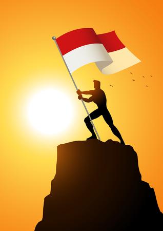 Silueta ilustrace muže držící vlajku Indonésie nebo Monaka, nositel vlajky, patriotismus koncepce Ilustrace