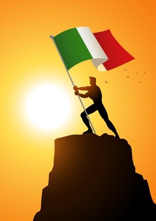national hero: Silhouette illustration of a man holding the flag of Italy, flag bearer, patriotism concept