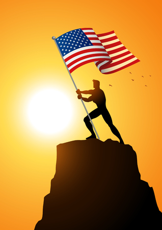 bearer: Silhouette illustration of a man holding the flag of The United States of America, flag bearer, patriotism concept