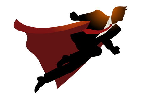 successful businessman: Cartoon silhouette of a businessman as superhero flying fast, successful, leadership, spirit, business concept