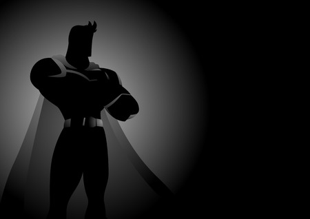 aspirational: Silhouette illustration of a superhero in gallant pose Illustration
