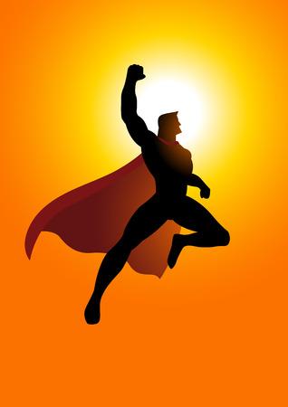 Cartoon silhouette di un supereroe che vola al sorgere del sole