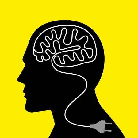 unplug: Graphic illustration of a human head with unplug power cable that forming a human brain Illustration