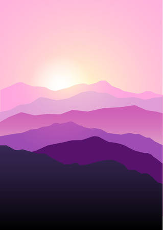 beautiful landscape: Graphic illustration of mountains landscape in beautiful pink and purple colors, dramatic scene.