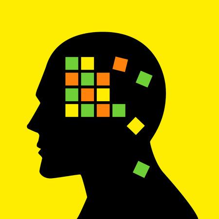 Speicherkonzept Grafik, Kisten auseinander fallen Analogie für Gedächtnisverlust oder Alzheimer-Krankheit