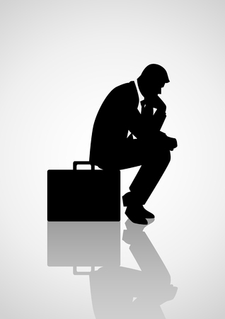 regretful: Silhouette illustration of pensive businessman sitting on his briefcase, thinking, thinker concept Illustration