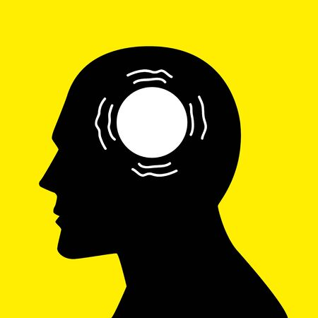 trembling: Mind concept graphic, trembling circle icon analogy for parkinsons disease Illustration