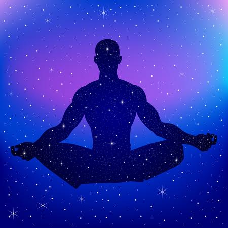 Silhouette Darstellung einer männlichen Figur Meditation über Nebel Hintergrund Vektorgrafik