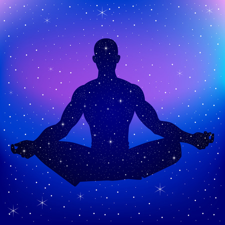 Silhouette illustration of a male figure meditating on nebula background