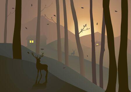 hills: Illustration of woods on hills during sunset or sunrise Illustration