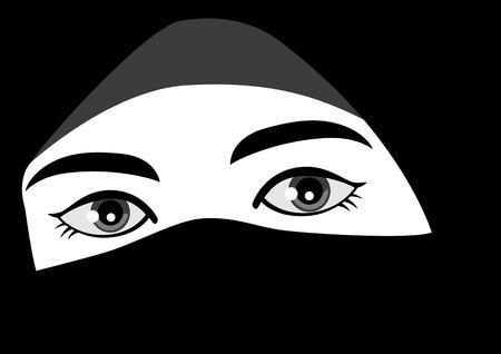 niqab: Black and white illustration of muslim woman wearing hijab or niqab