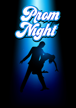 Silhouette illustration of a couple dancing under the blue light with prom night text 向量圖像