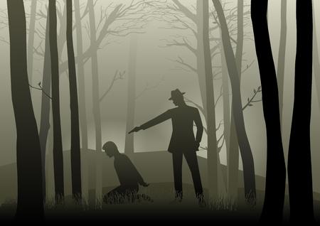 Ilustración de la silueta de un hombre que apunta un arma a la cabeza del hombre de rodillas en la oscuridad del bosque, concepto para el secuestro, la violencia, el crimen, gángster