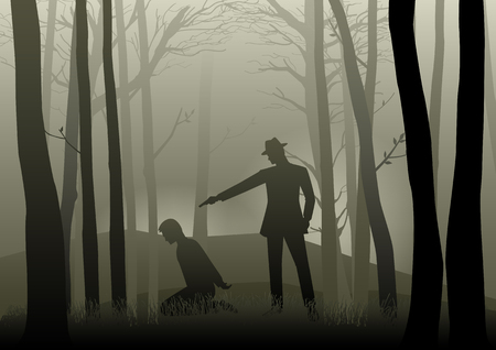 Silhouette illustration of a man aiming a gun to the kneeling mans head in the dark woods, concept for kidnapping, violence, crime, gangster Illustration