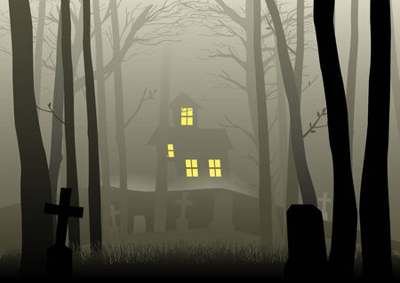 Silhouette illustration of a scary house and cemetery in the dark woods, for Halloween theme or background Illustration