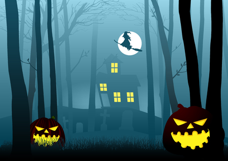 dark woods: Silhouette illustration of a witch house in the dark scary woods, for Halloween theme or background Illustration