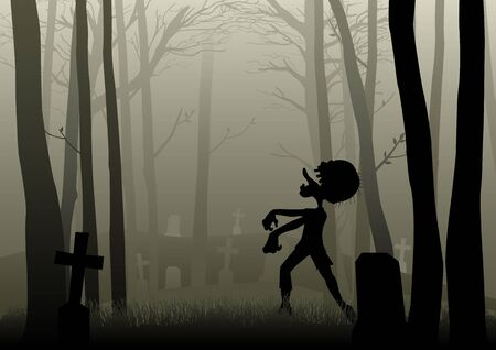 dark woods: Silhouette illustration of a zombie walking on the graveyard in dark woods, for Halloween theme or background