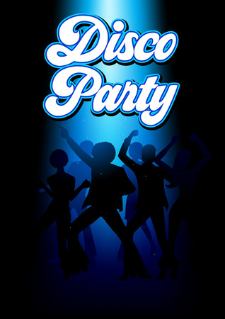 energetic: Silhouette Illustration of young energetic couples disco dancing on the floor, party, lifestyle theme