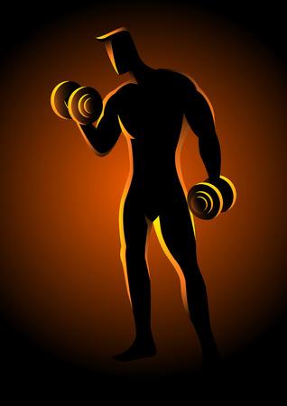 deportes caricatura: Ilustración de la silueta de un culturista, levantamiento de pesas