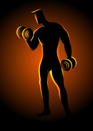 strong men: Silhouette illustration of a bodybuilder lifting dumbbells