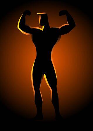 bodybuilder man: Silhouette illustration of a muscular bodybuilder posing
