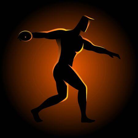 lanzamiento de disco: Ilustración de la silueta de un atleta de lanzamiento de disco Vectores