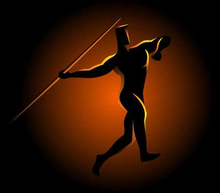 javelin: Silhouette illustration of a javelin throw athlete