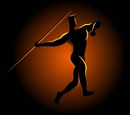lanzamiento de jabalina: Silhouette illustration of a javelin throw athlete