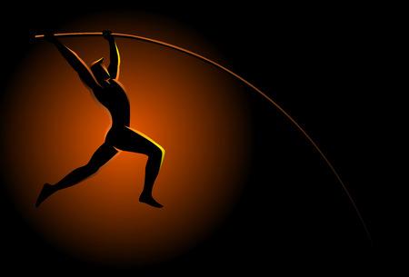 pole vault: Silhouette illustration of a pole vault athlete