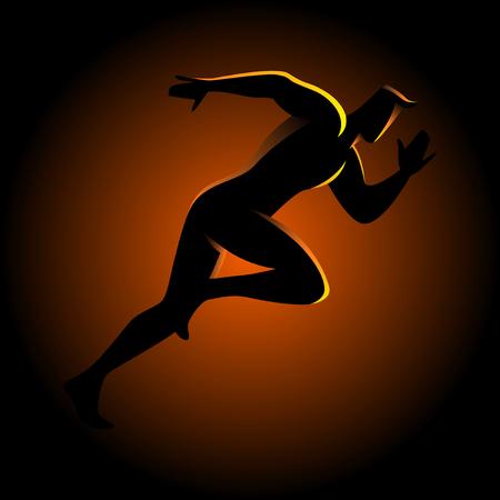 Silhouette illustration of a sprinter Illustration