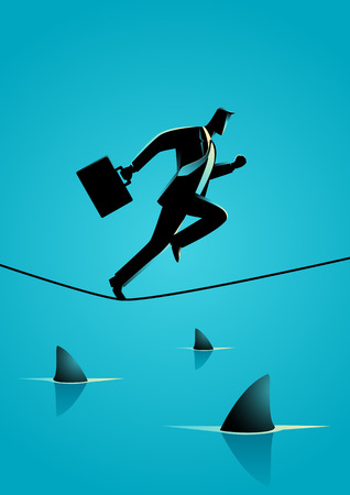 Silhouette illustration of a businessman running on rope with sharks underneath. Concept for take risk, courage, opportunity in business Vectores