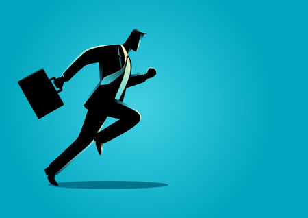 energetic: Silhouette illustration of a businessman running with briefcase, business, energetic, dynamic concept