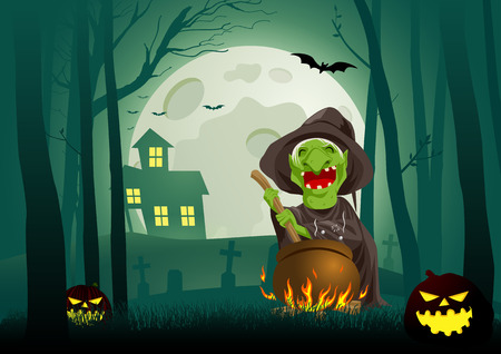 stirring: Cartoon illustration of a witch stirring concoction in the cauldron in the dark scary woods, for Halloween theme and background
