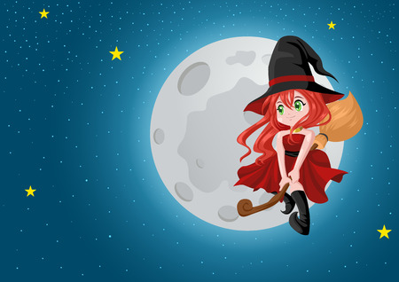 harridan: Cute cartoon of a beautiful witch flying with her broom during full moon, for Halloween theme and concept